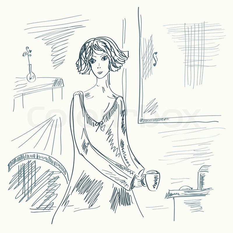 1948625 1935 Sketch Of Girl In The Room With Tea Sketch A Room 2 On Sketch