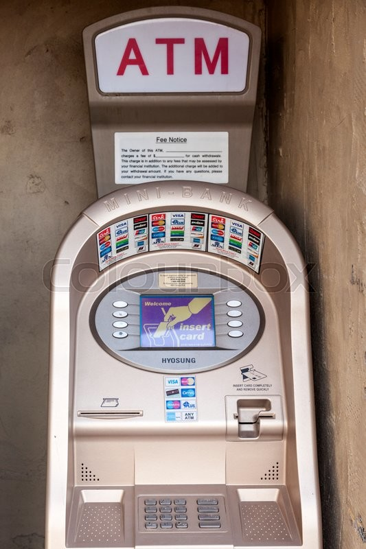 Editorial image of 'FORT WORTH, USA - APR 6: Mini Bank ATM accepting all popular credit cards in the Fort Worth Stockyards District. April 6, 2016 in Fort Worth, Texas, USA'