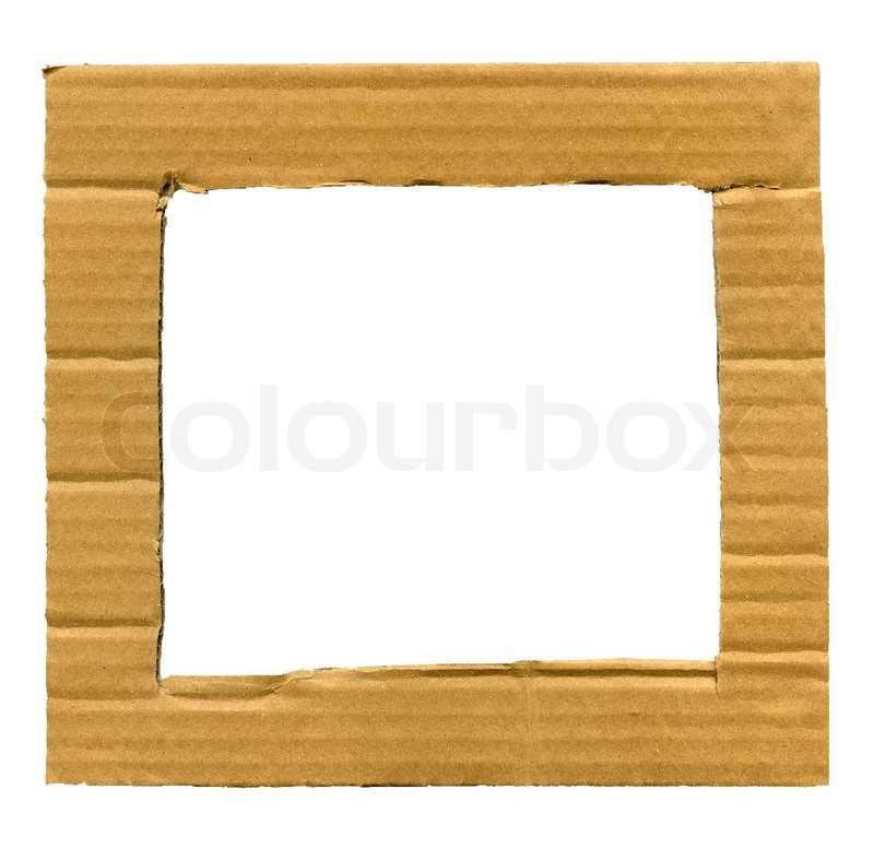 Textured cardboard frame with torn edges isolated over white | Stock ...
