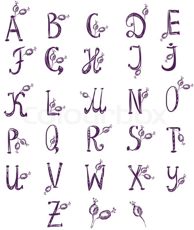 Hand drawn alphabet set with rose berries | Stock Vector | Colourbox