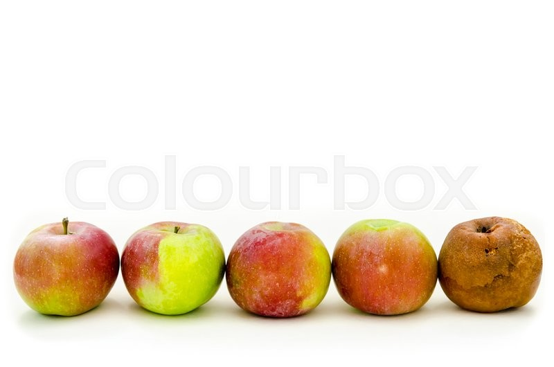 Stock image of 'rotten apple with a lot of fresh apples'