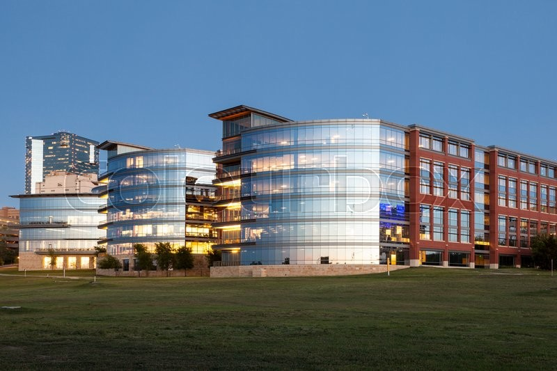 Editorial image of 'FORT WORTH, TX, USA - APR 6: Trinity River Campus of the Tarrant County College at dusk. April 6, 2016 in Fort Worth, Texas, USA'