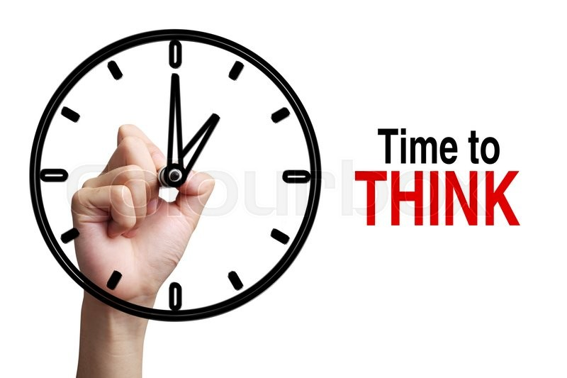 Stock image of 'Hand is drawing a clock with text Time To Think Concept aside isolated on white background.'