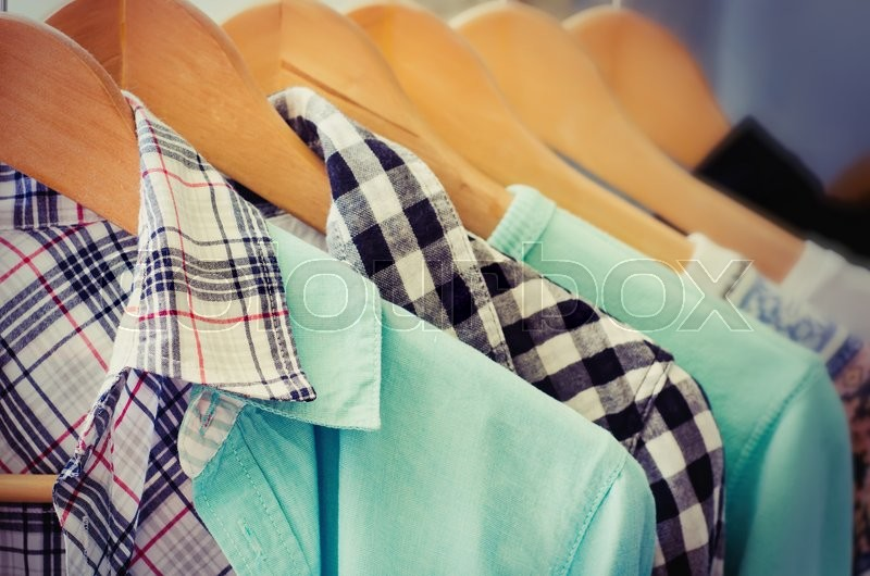 Stock image of 'clothes hanger with a lot of dress'