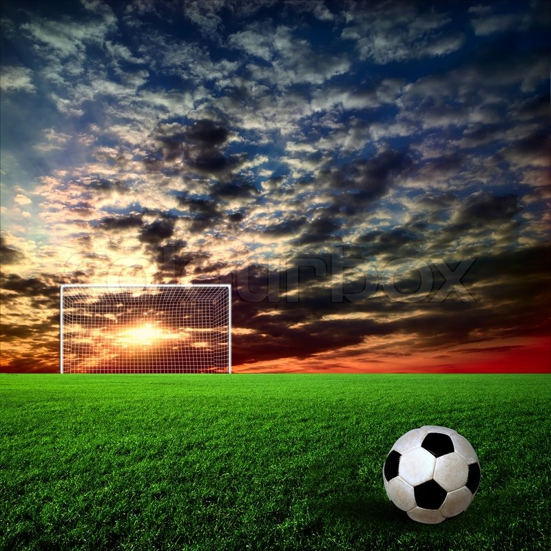 Soccer Ball On The Green Field Stock Image Colourbox