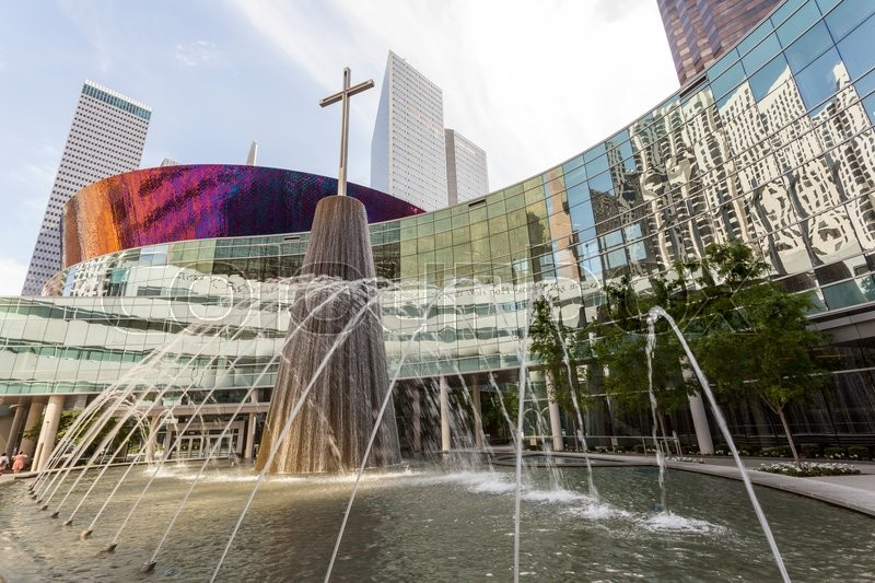 Editorial image of 'DALLAS, USA - APR 7: Fountain at the First Baptist Church building in Dallas downtown. April 7, 2016 in Dallas, Texas, United States'