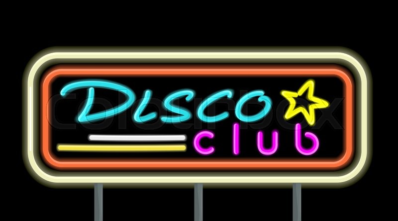 Neon signboard disco club design flat style. Signboard template for ...