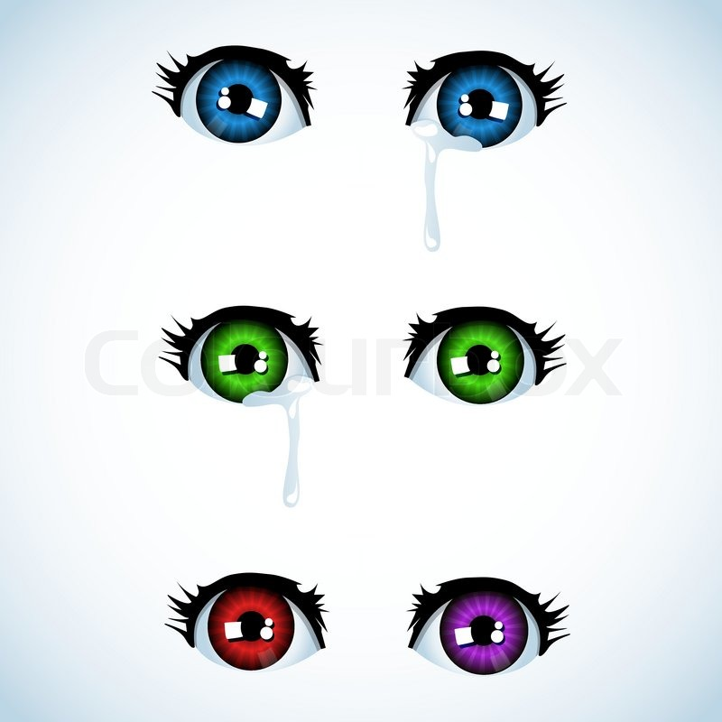 Eyes Crying Painting Crying Eyes in Anime Style