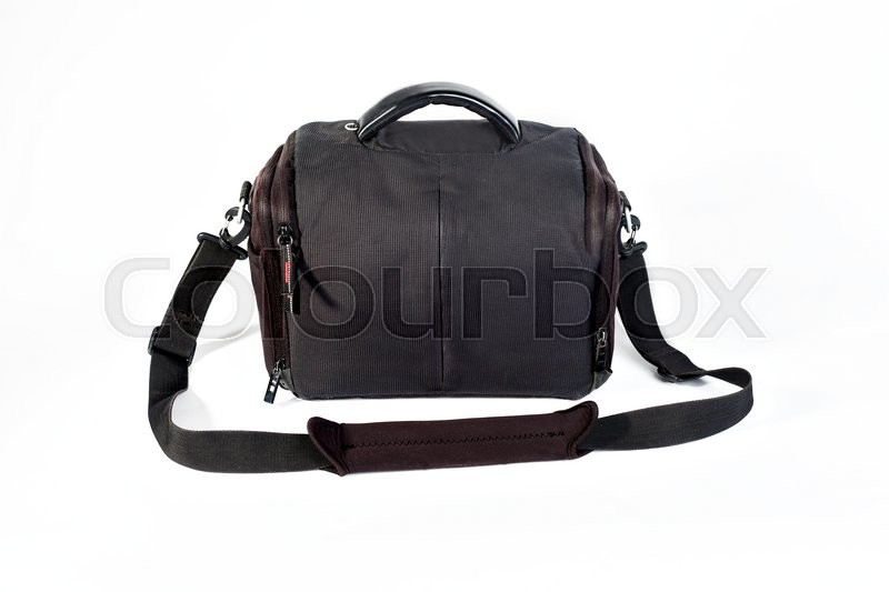 Stock image of 'rectangular black bag for the camera on a white background. Isolated.'