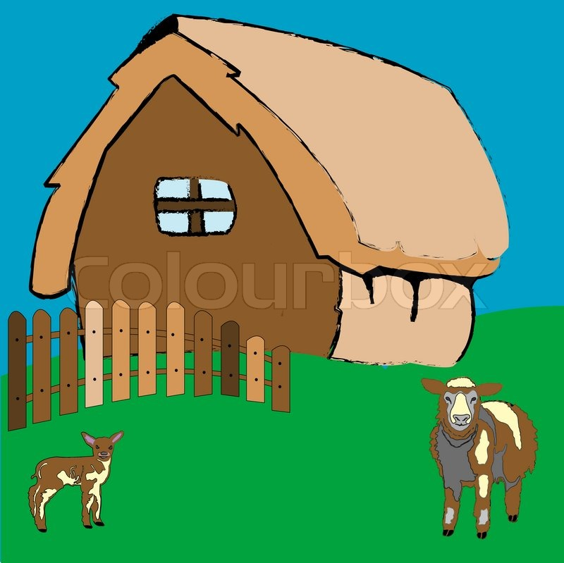 Village House And Farm Animals Art Illustration More Drawings In My Gallery