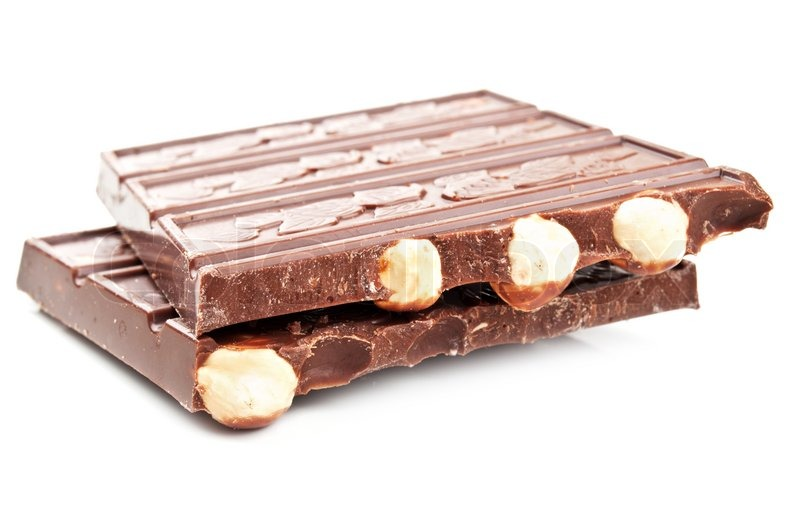Bar of chocolate with nuts isolated on a white background ...