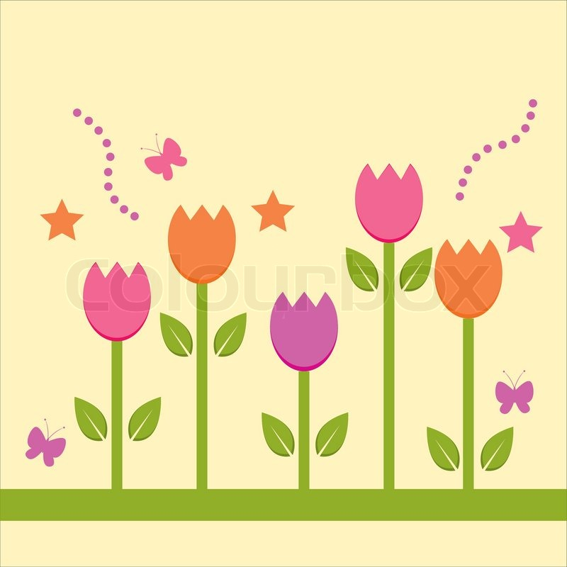 Cute Spring Background Vector