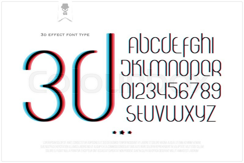 Round 3d Effect Alphabet Letters And Numbers On White Background Vector Font Type Design Distortion Lettering Icons Stylized Glitch Text Typesetting