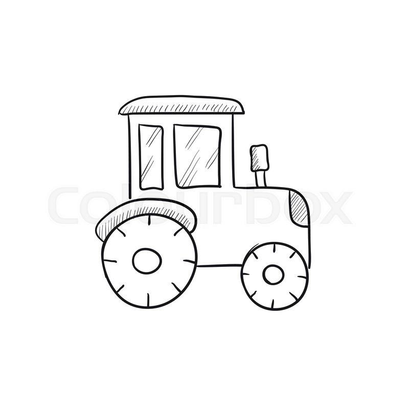 Line Drawing Tractor : Tractor sketch icon for web mobile and infographics hand