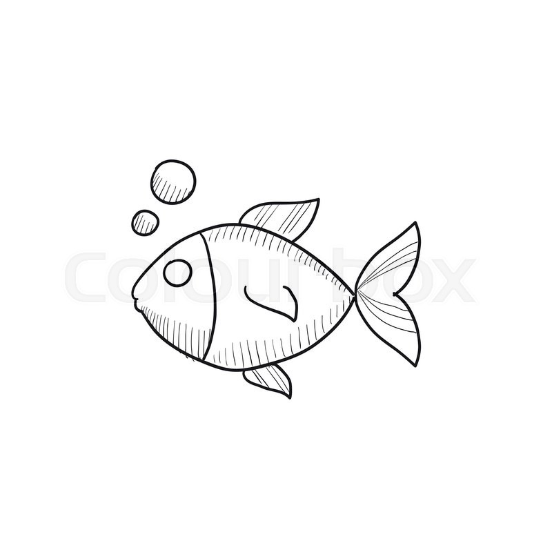 Small fish vector sketch icon isolated on background hand for Small art drawings