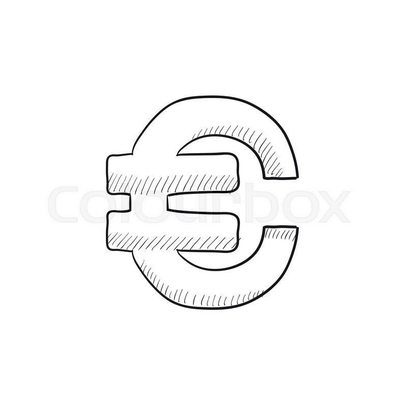 Euro Symbol Vector Sketch Icon Isolated On Background Hand Drawn