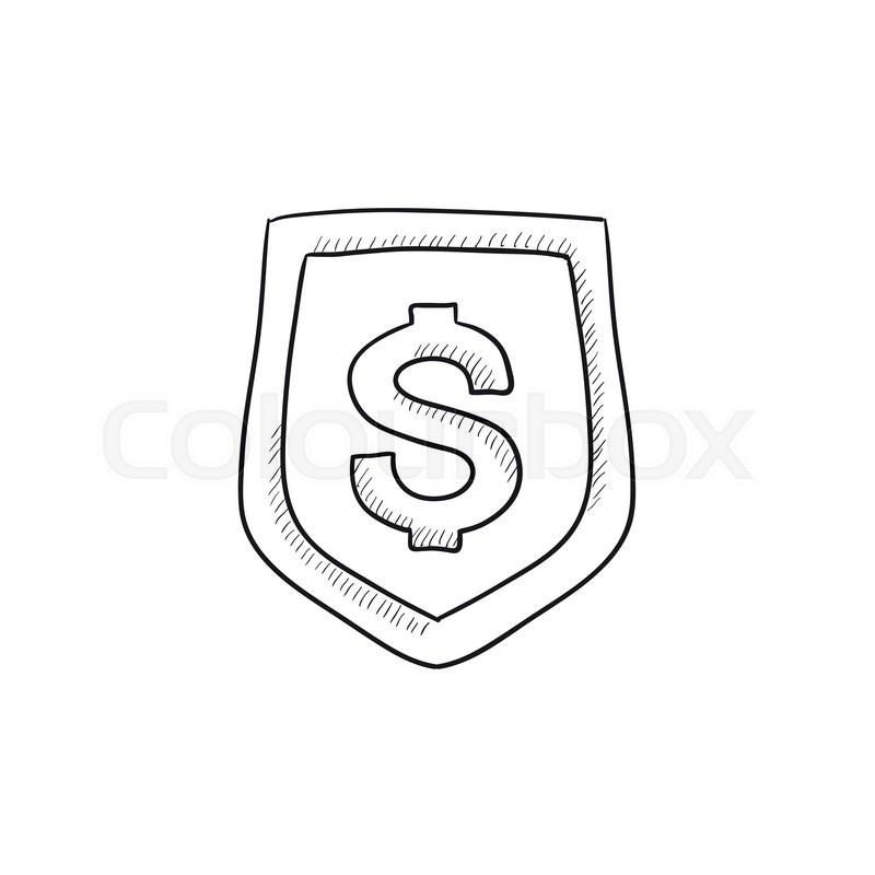 Shield With Dollar Symbol Sketch Icon Vector 19497730 on Insurance Symbol Of A Shield With Dollar Sign Free