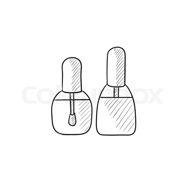 Bottles Of Nail Polish Vector Sketch Icon Isolated On