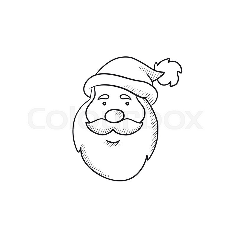 Santa Claus Face Vector Sketch Icon Isolated On Background. Hand Drawn Santa Claus Face Icon ...