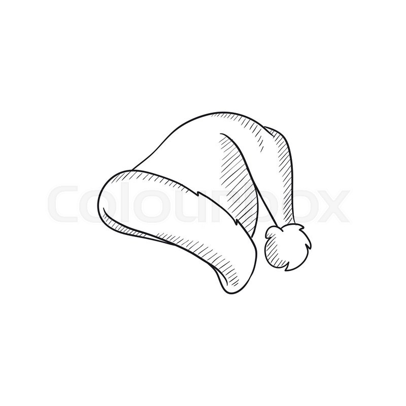 Christmas Hat Drawing.Santa Hat Vector Sketch Icon Isolated Stock Vector