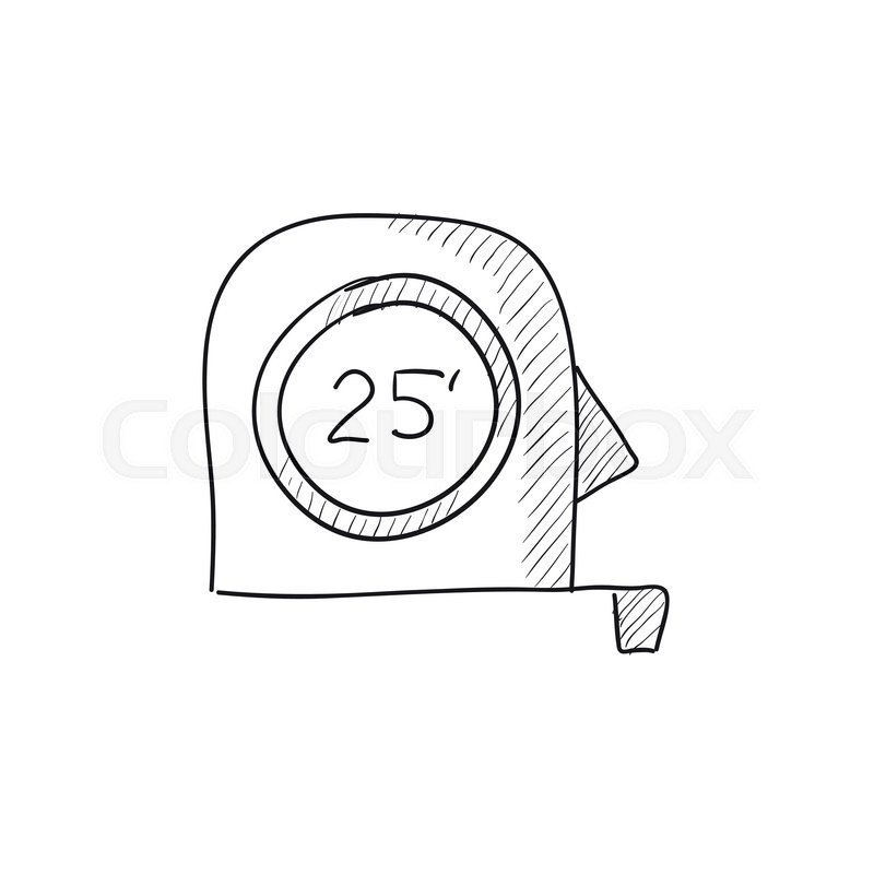 tape measure vector sketch icon isolated on background
