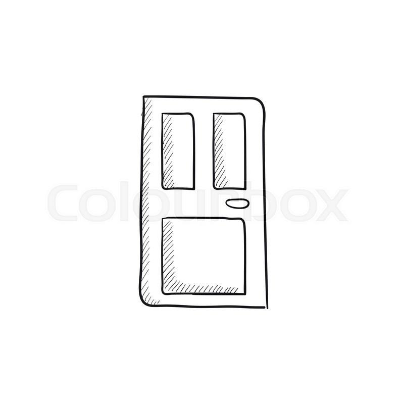 front door vector sketch icon isolated stock vector