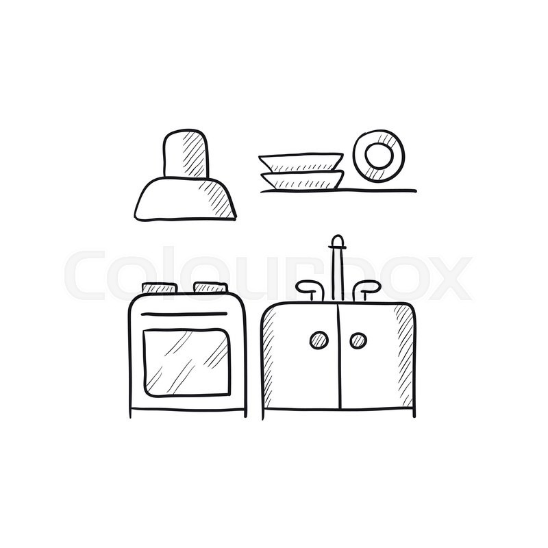 Kitchen Interior Vector Sketch Icon Isolated On Background Hand