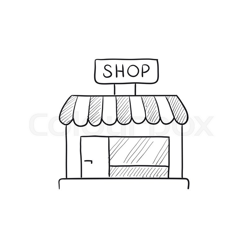 Shop Store Vector Sketch Icon Isolated On Background Hand