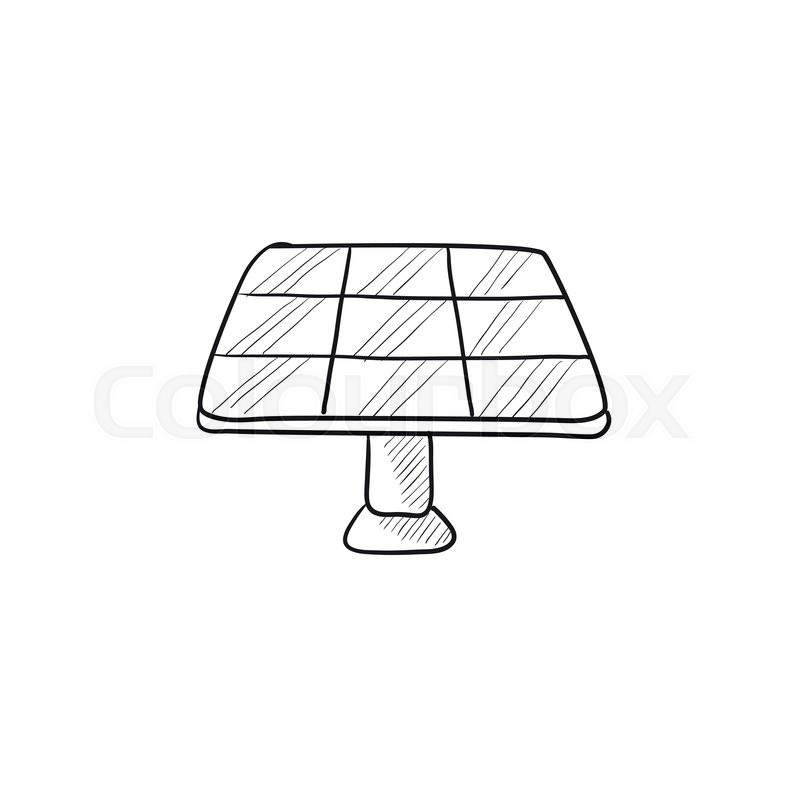 solar panel vector sketch icon isolated on background