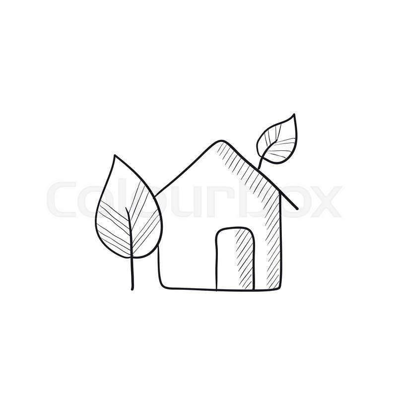 Eco Friendly House Vector Sketch Icon Isolated On