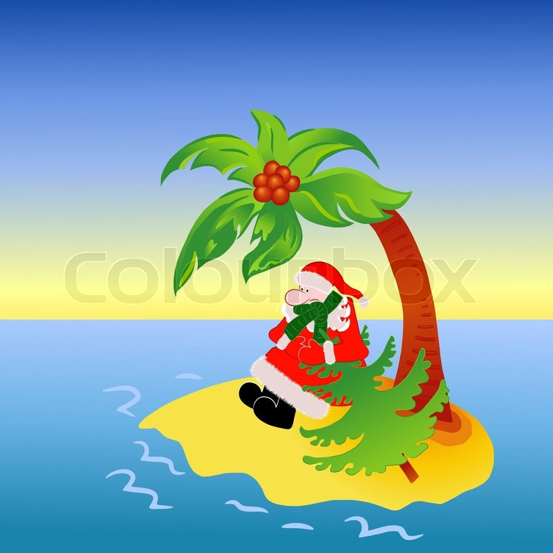 Island Christmas Tree.Santa Claus Lost On Tropical Island Stock Vector
