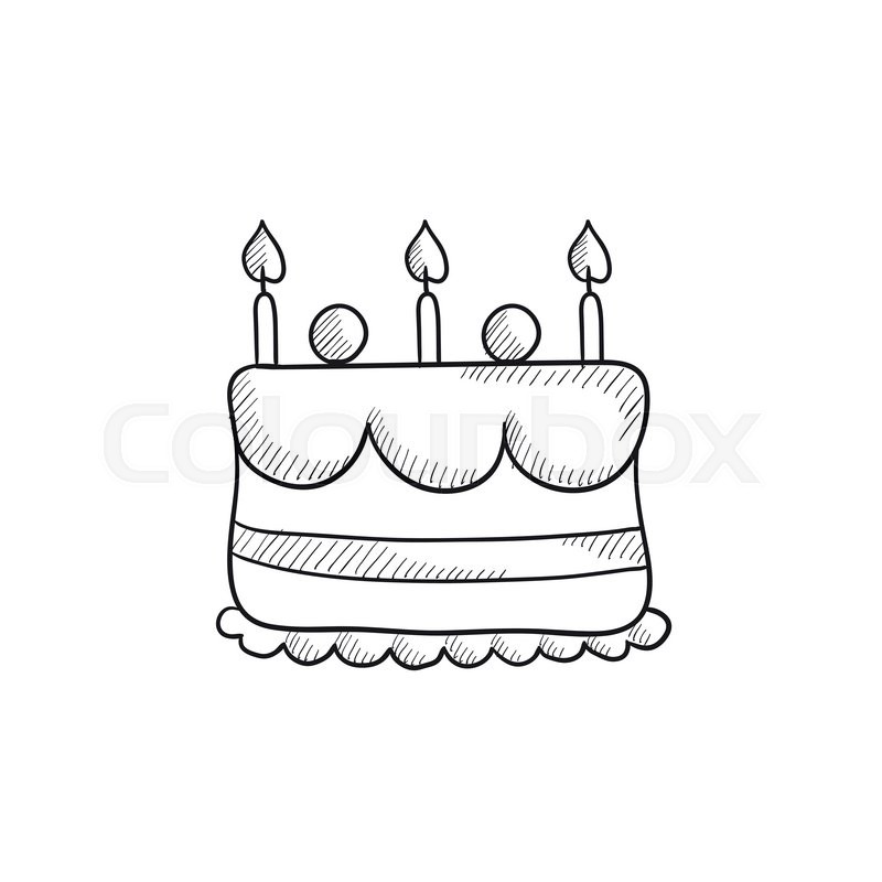 Birthday Cake With Candles Vector Sketch Icon Isolated On Background