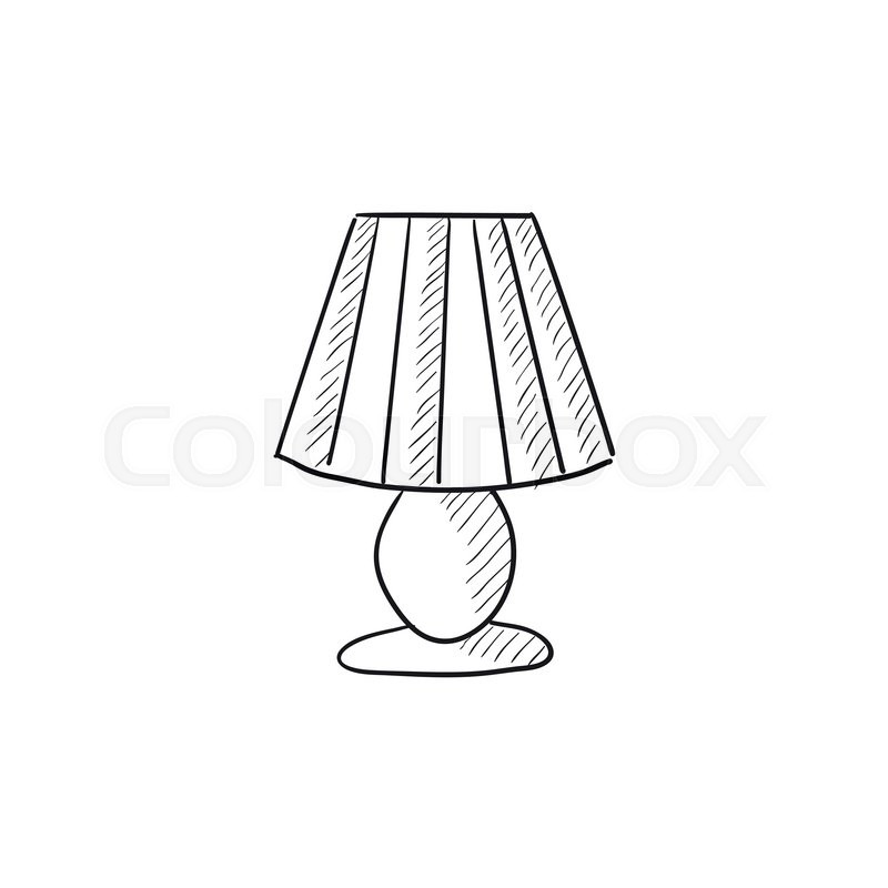 Table Lamp Vector Sketch Icon Isolated On Background Hand Drawn For Infographic Website Or App