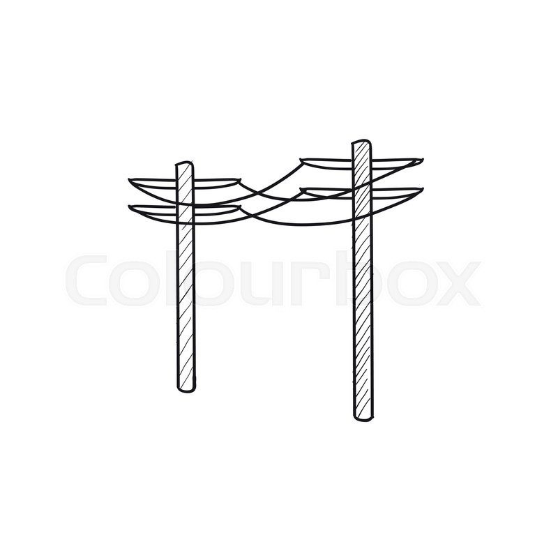 high voltage power lines vector sketch icon isolated on background  hand drawn high voltage