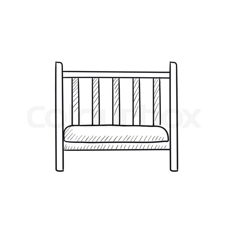 Baby Cot Vector Sketch Icon Isolated Stock Vector