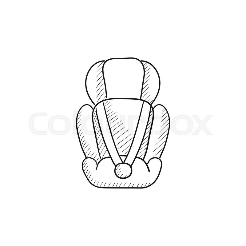 Baby car seat vector sketch icon isolated on background ...