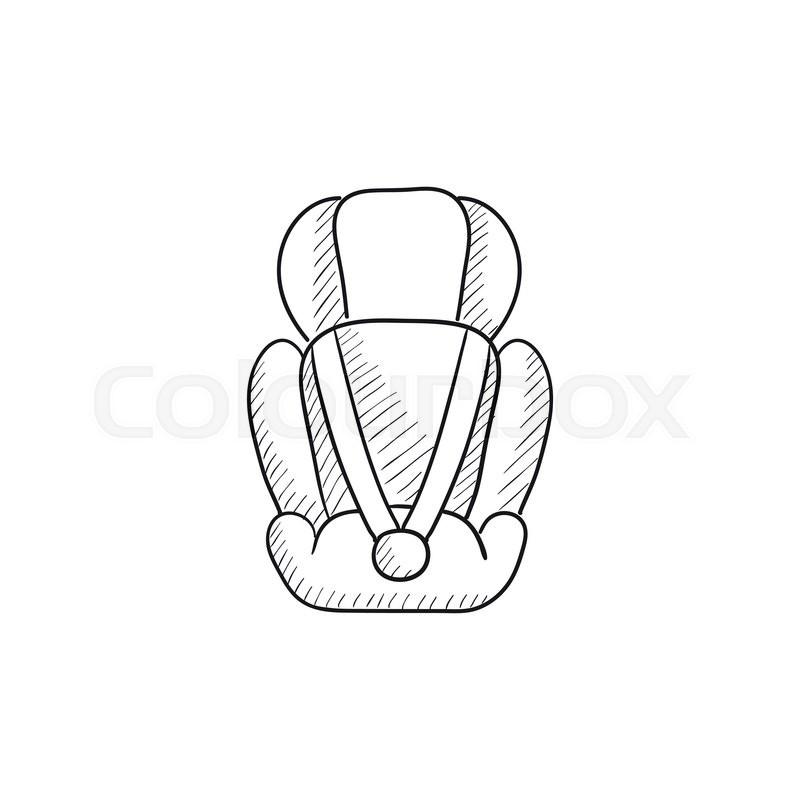 Baby Car Seat Vector Sketch Icon