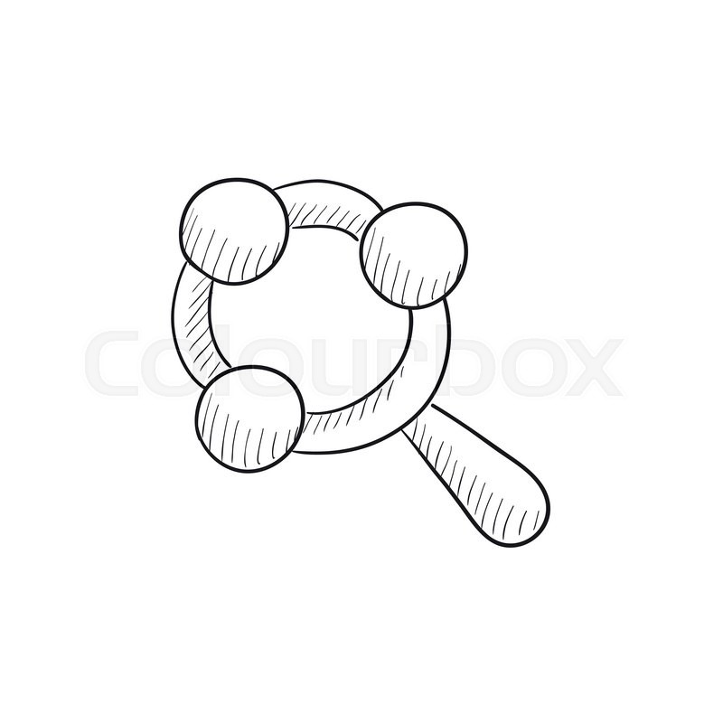 baby rattle vector sketch icon isolated on background hand drawn