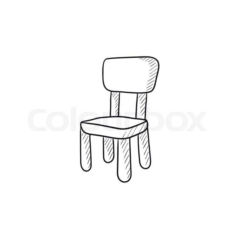 Chair For Children Vector Sketch Icon Isolated On