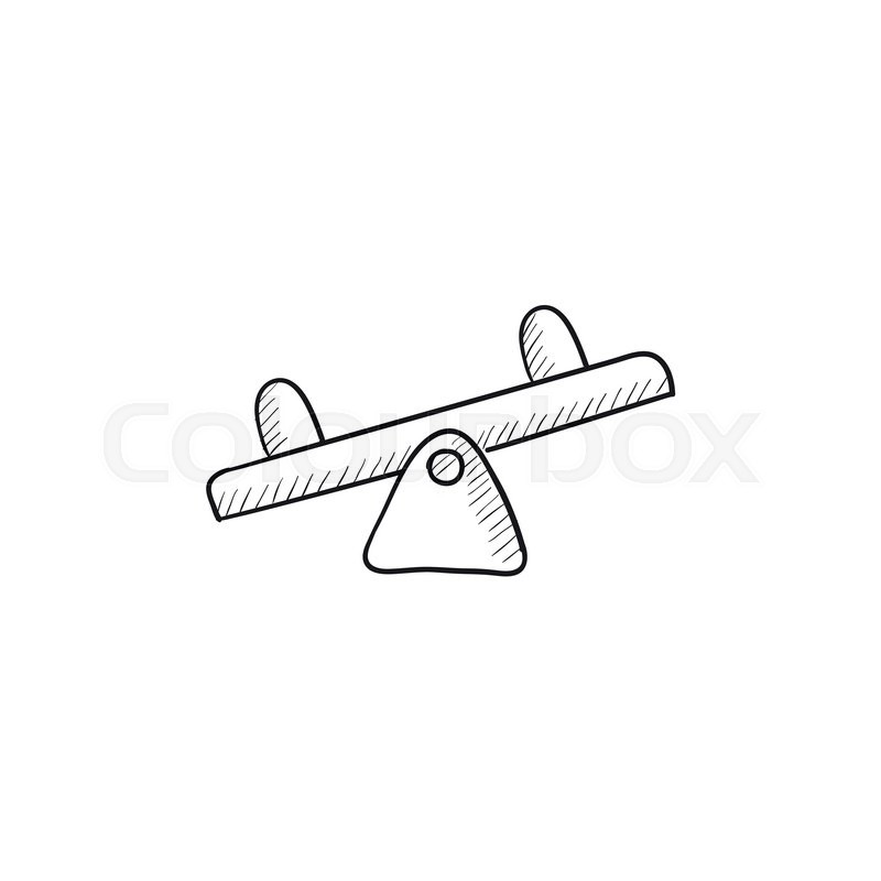 Seesaw vector sketch icon isolated on background hand for Seesaw plans designs