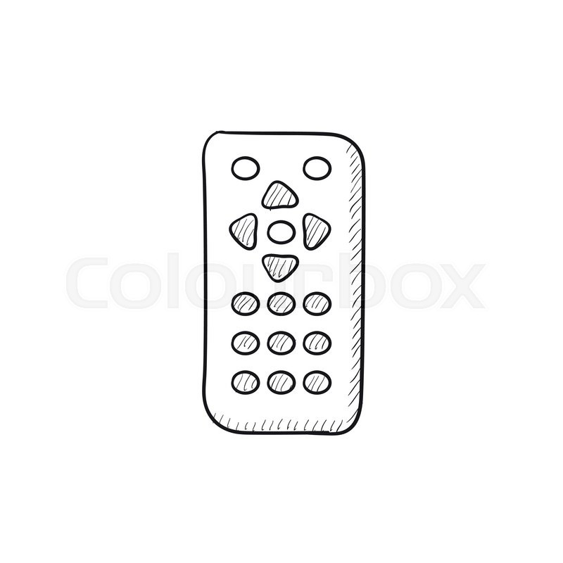 remote control vector sketch icon isolated on background