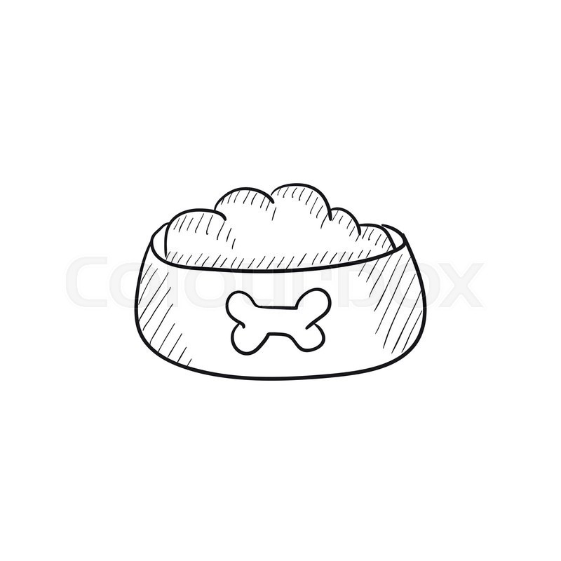 Dog Bowl With Food Vector Sketch Icon Isolated On Background. Hand Drawn Dog Bowl With Food Icon ...