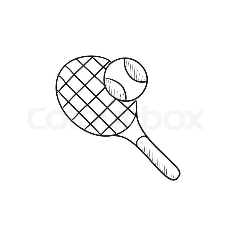 Tennis Racket And Ball Vector Sketch Stock Vector Colourbox