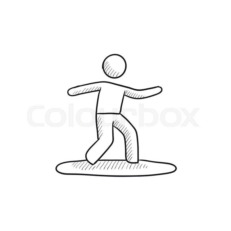 male surfer riding on surfboard vector sketch icon isolated on