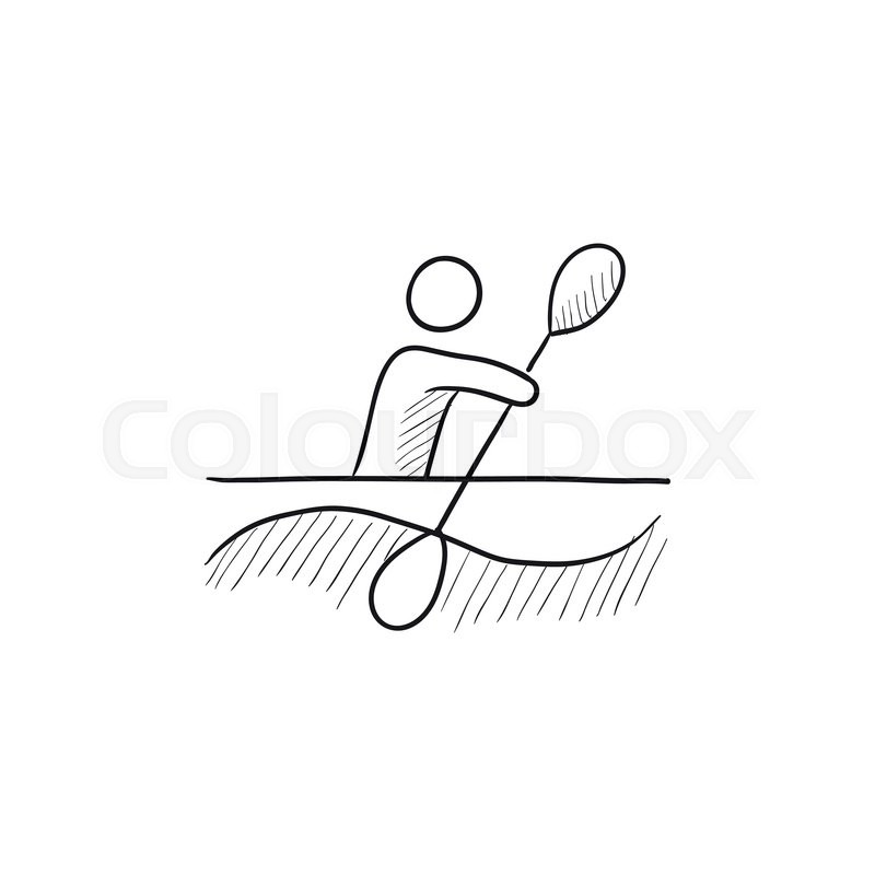 Man Kayaking Vector Sketch Icon Isolated On Background Hand Drawn For Infographic Website Or App