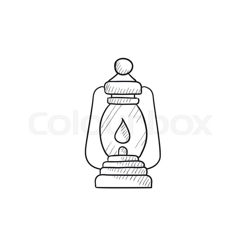 Camping Lantern Vector Sketch Icon Isolated On Background
