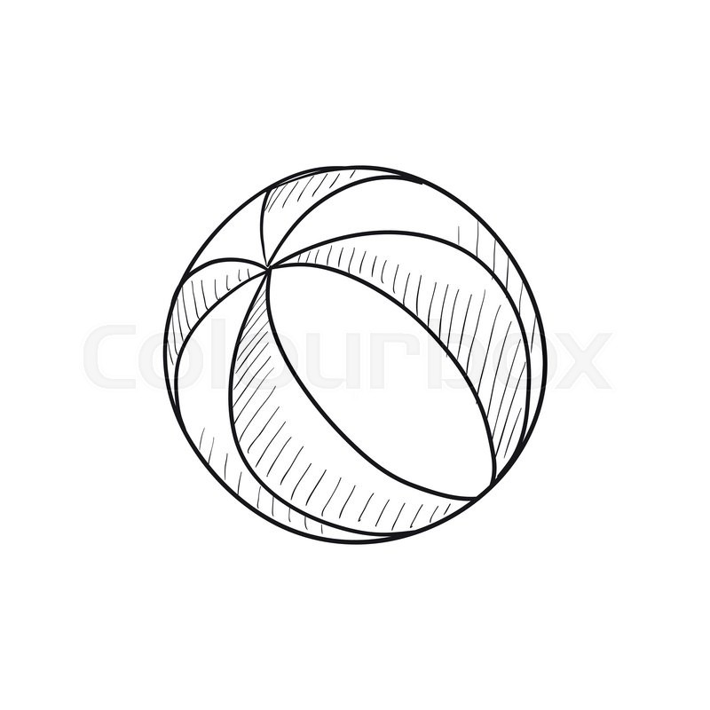 Beach Ball Vector Sketch Icon Isolated On Background. Hand Drawn Beach Ball Icon. Beach Ball ...