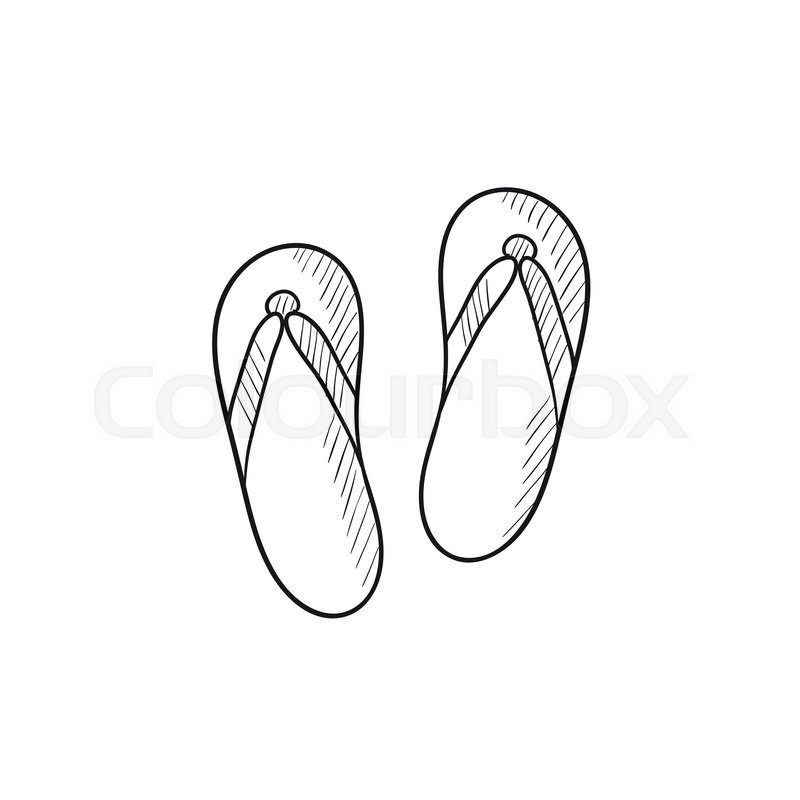 Line Drawing Beach : Beach slipper vector sketch icon isolated on background
