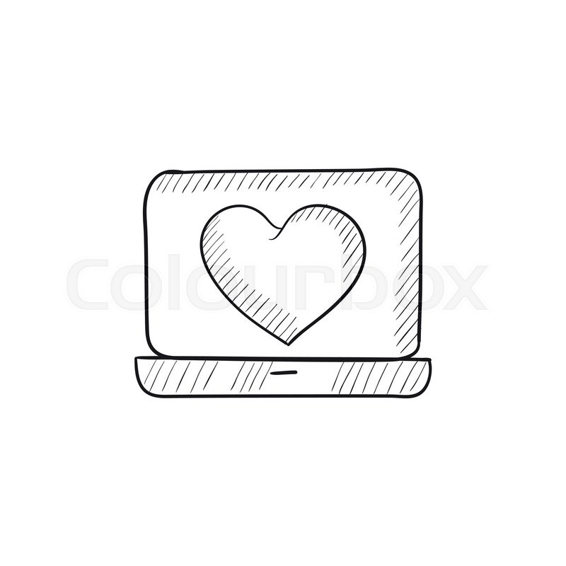 Laptop With Heart Symbol On Screen Vector Sketch Icon Isolated On