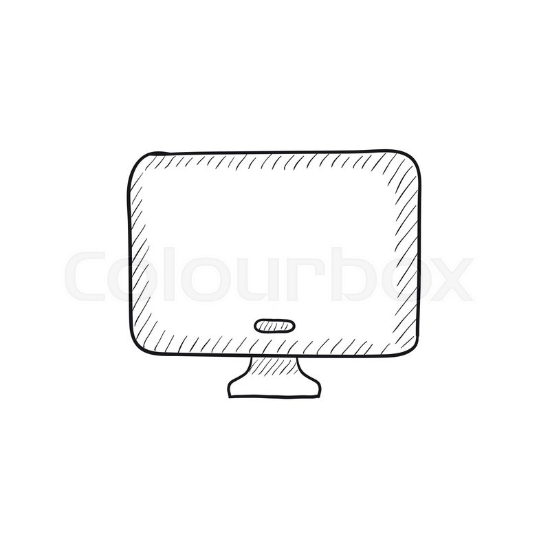 monitor vector sketch icon isolated on background  hand